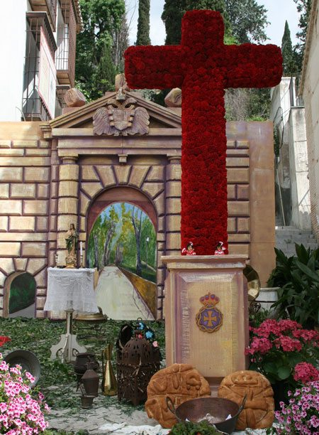 Cross With Theatrical Set Of Granada Landmarks