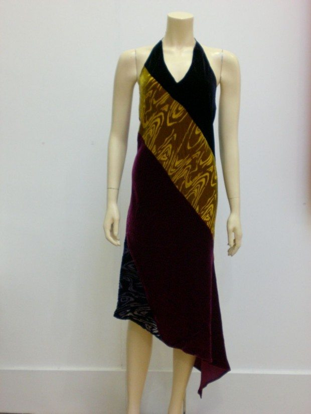 PATCHWORK VELVET DRESS