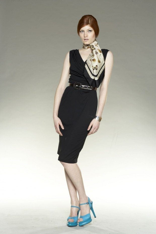 Jersey dress, Madame Butterfly scarf