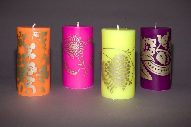 Gilver Printed Coloured Candles