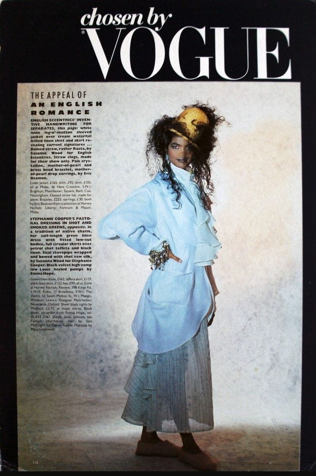 White Linen Shirt and Signatures Print Skirt - Vogue - SS 1986