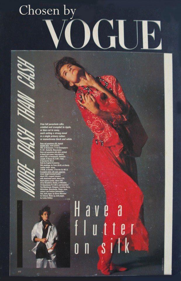 Hands Print Silk shirt and divided skirt - Vogue -AW 1984