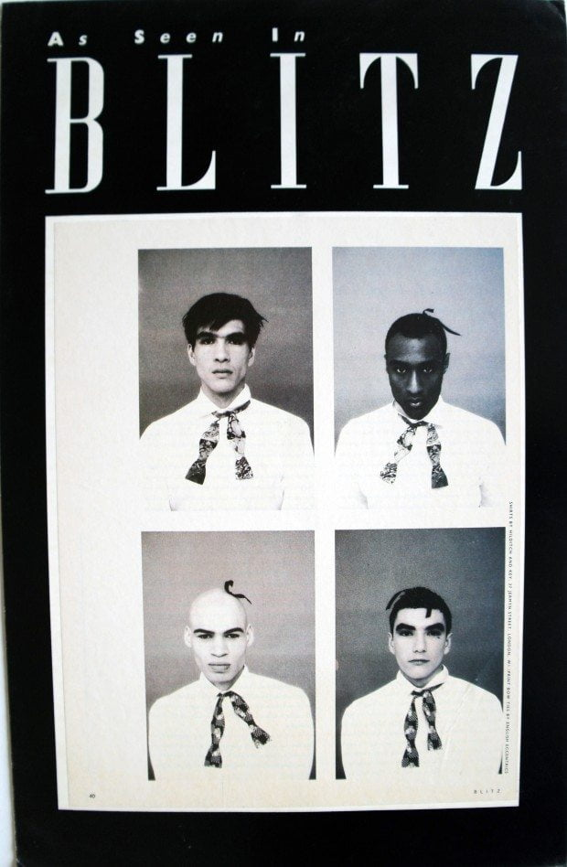 Heads and Diamonds, cupid and marble bow ties - Blitz Magazine AW 1987