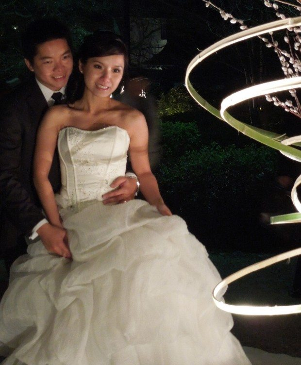 Bride and Groom with Ikebana