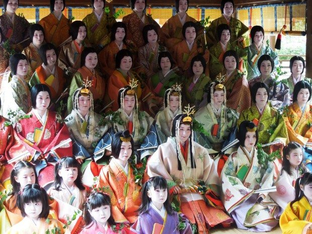 The Saio-Dai and many of her helpers pose for official photographs at Kamigamo shrine, Kyoto