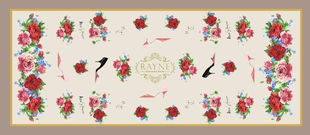 rayne scarf roses logos shoes beige