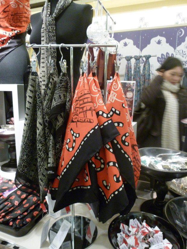 EE scarves in V&A shop