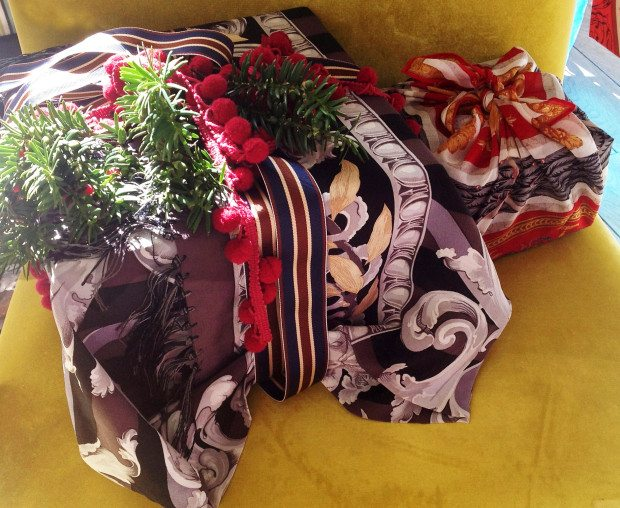 English Eccentrics vintage scarf covered presents
