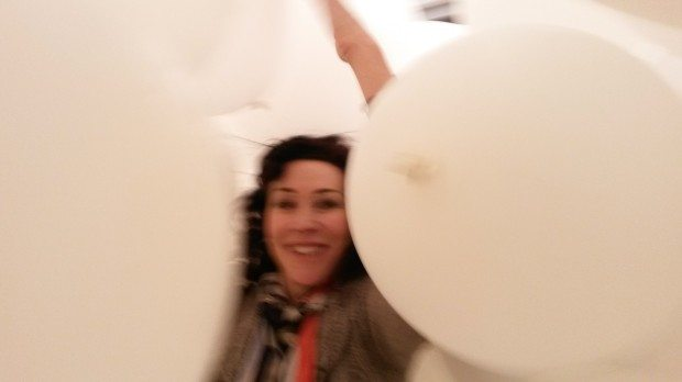 14 Helen David in the Martin Creed Balloon room at Hayward