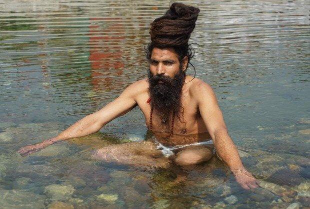Haridwar - Sadhu Bathing in the Ganga